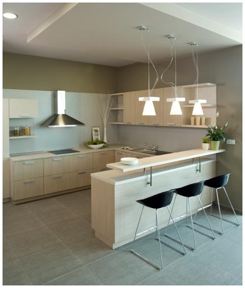 Muebles de cocina chapados en madera clara, para ambientes