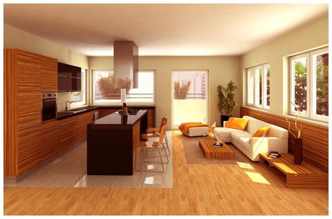 Salon comedor de madera a medida for Muebles comedor madera